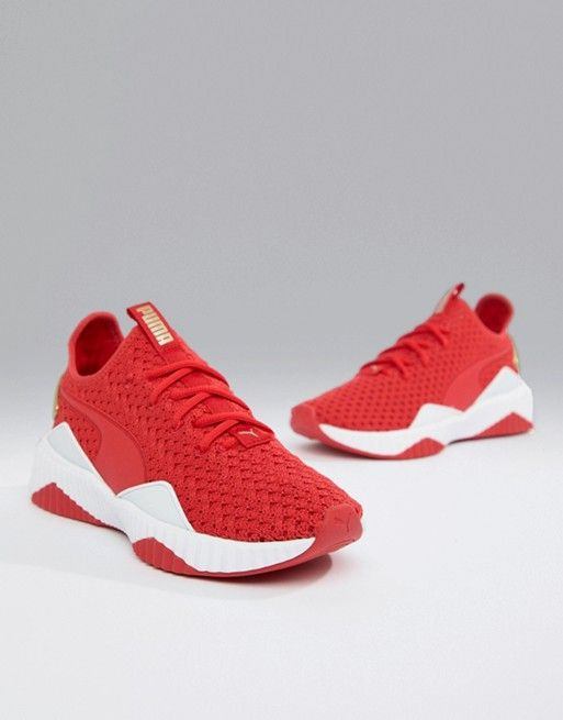 bf7697c1fb7 Puma Training Defy Knitted Sneakers In Red And Gold