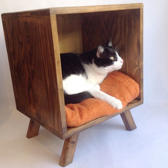 This is a fantastic handmade and made to order Midcentury inspired cat bed / nightstand / side table.  It is the perfect sized bed for your