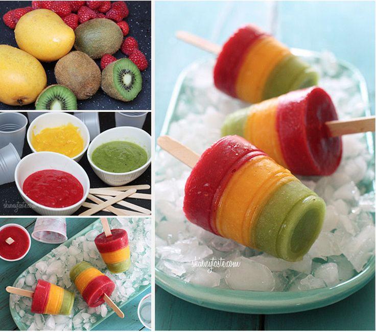 Kiwi, Raspberry, Mango Pops | FOOD & DRINKS | Pinterest