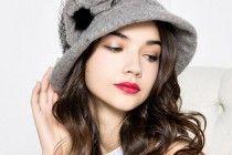 cappello della benna del fiore velo per le donne di piegatura cappelli di feltro usura autunno inverno