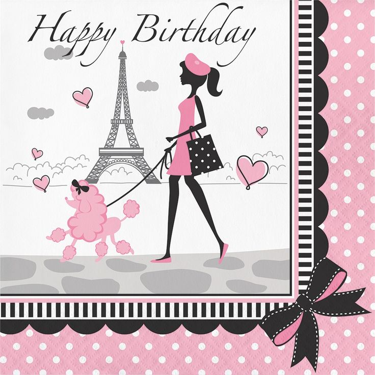 Creative Party in Paris Pink, and White 6.5-inch Happy Birthday Lunch Napkins