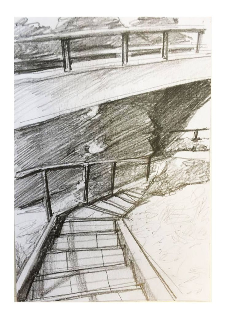 Interest in Pathways and their view/experience. The winding roads. Precedent: Yoshihara McKee Architects who uses rough pencil to capture spatial qualities quickly