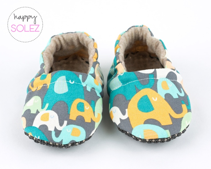 Elephant Party Eco Friendly Baby Booties, Crib Shoes, Soft Sole, Accessories for Baby. By HappySolez!