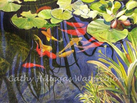 Koi pesce arte pittura ad acquerello stampa di di CathyHillegas