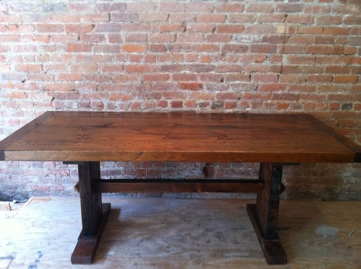 Custom Made Breadboard Ends And Reclaimed Wood Trestle Table