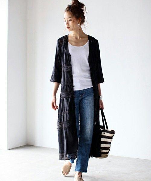 レースロング長袖ガウン(シャツ/ブラウス)|AZUL by moussy(アズールバイマウジー)のファッション通販 - ZOZOTOWN