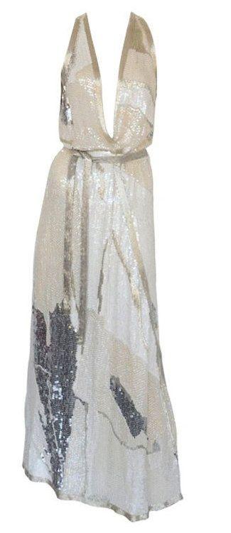 Vintage Halston Dress 70s Sequin Beaded Long Gown