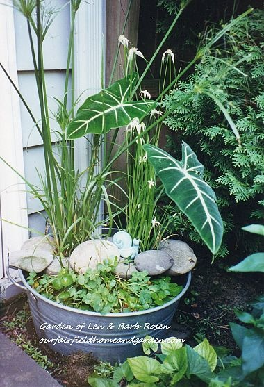 so want to do this! a galvanized tub creates a mini water garden! LA BONNE IDEE DES CAILLOUX