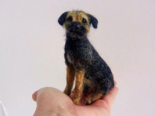 needle felted border terrier 'Blue' #dogs #animal #border #terrier