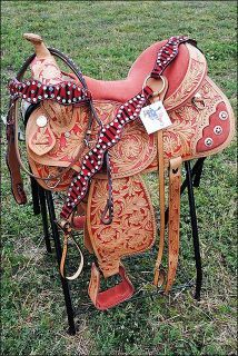 Barrel Racing Saddles | Zabh Western Barrel Racing Trail Saddle w Bridle Breast Collar Set