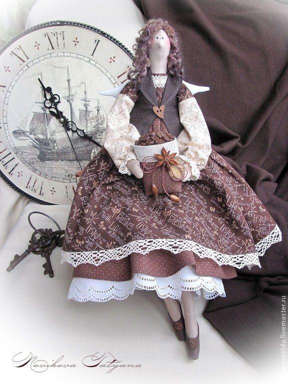 Купить Фея утреннего кофе ))) (Ангел в стиле Тильда) - коричневый, кофейный, шоколадный ♡