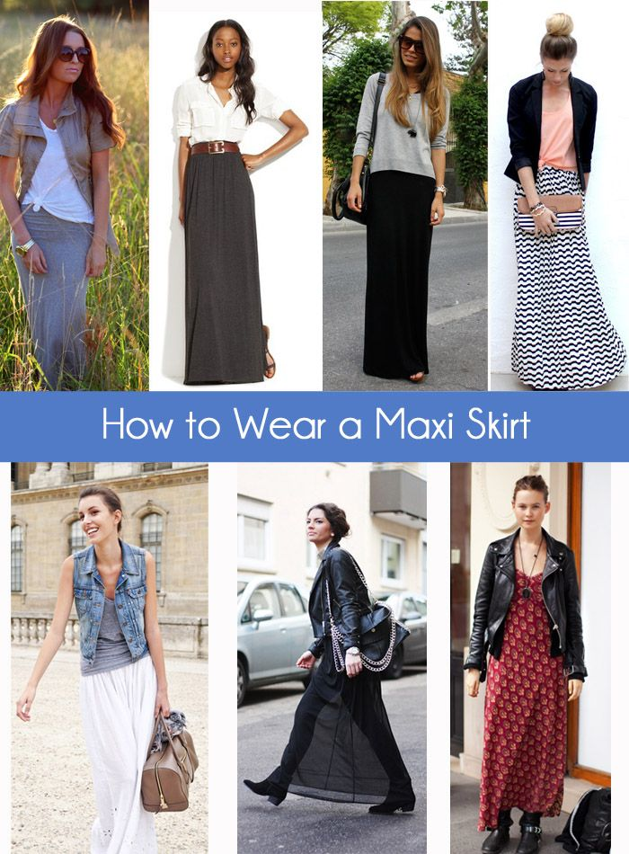 How to Wear a Maxi Skirt- Love love love the sweater look as well as the blazer style! Think Fall in the air
