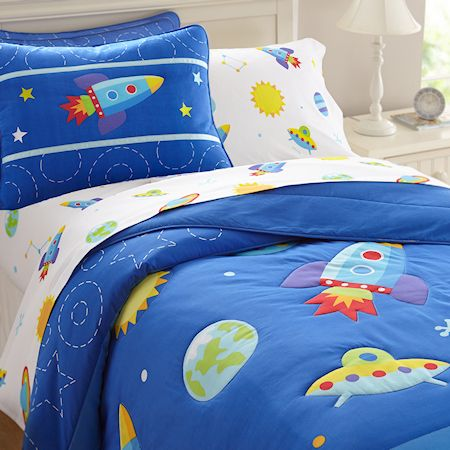 Galaxy Outer Space Blue Bedding Twin Or Full Queen