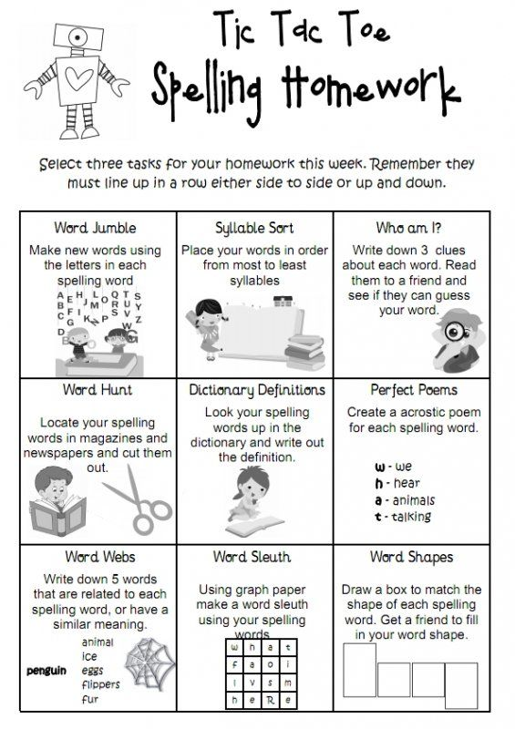 Tic Tac Toe spelling homework is a fun way for students to do spelling at home. In the grid are different spelling activities to be completed and students need to choose 3 activities for homework that