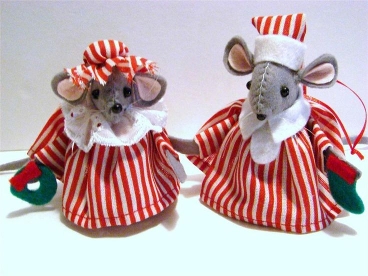 "HAND~CRAFTED 3"" FELT BOY & GIRL CHRISTMAS CANDY STRIPED MICE ORNAMENT PAIR~ FROM THE CHRISTMAS WINDOW"