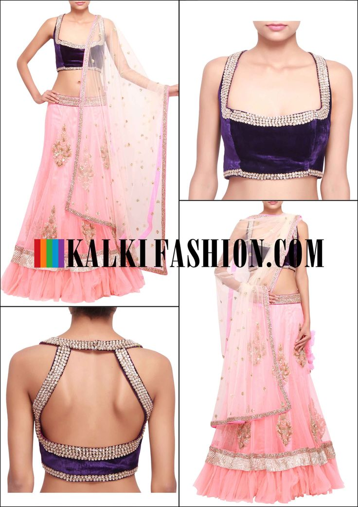 Get this beautiful lehenga here: http://www.kalkifashion.com/peach-lehenga-embellished-in-kundan-embroidered-butti-only-on-kalki.html Free shipping worldwide.