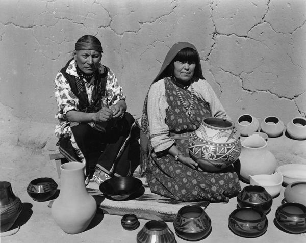 """""""Maria Montoya Martinez and Julian Martinez were two of the most highly acclaimed potters in the Southwest. They became known throughout the world for their highly polished, black on black and polychrome ceramics."""" Caption from link"""
