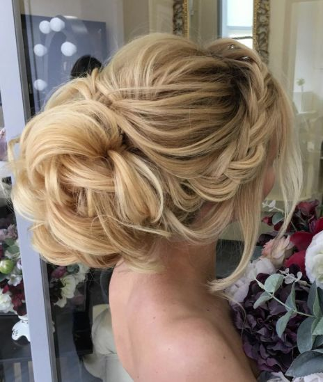 Side Braided Loose Bun Wedding Hairstyle Elegant Wedding