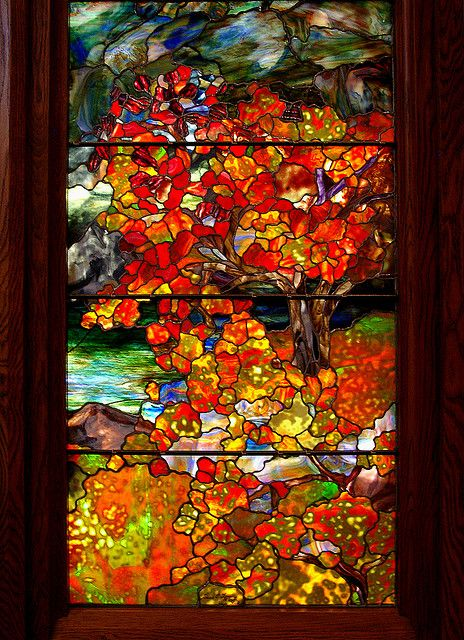 "This is so beautiful. I can't imagine how fantastic it would look in person! ""Autumn Landscape"" (close up) - Louis Comfort Tiffany"