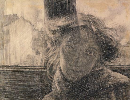 """deadsunflower: """" Umberto Boccioni, Controluce, 1910. Matita su carta, 36 x 49 cm. Collezione privata. Deposito presso la Collezione Peggy Guggenheim, Venezia. """""""
