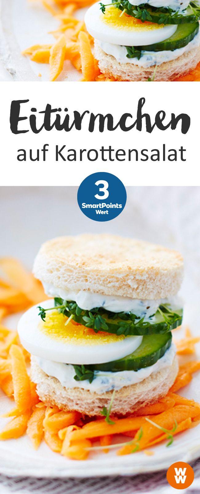 Eitürmchen auf Karottensalat | 12 Portionen, 3 SmartPoints/Portion, Weight Watchers, Frühstück, in 25 min. fertig
