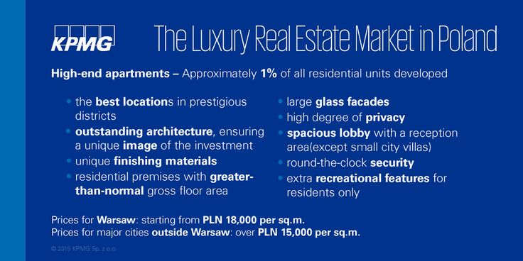 Approximately 1 of residential units developed in Poland are high-end apartments #realestate #KPMG #Property #KPMGPoland #Poland
