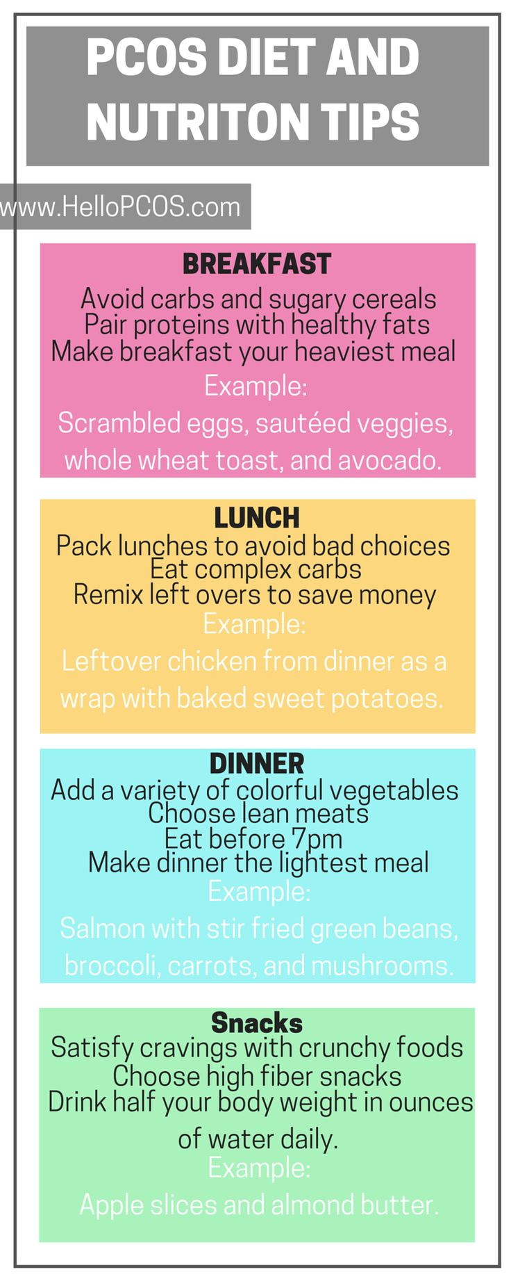 PCOS DIET AND NUTRITION TIPS | Are you participating in the 7 day clean eating challenge? Are you looking to clean up your PCOS Diet? Scroll down to find tips on eating clean with PCOS, staple foods you should have, and plenty of free printables.