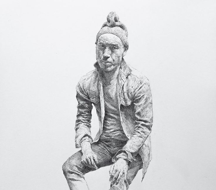 SeongJin Kim 비니를 쓰고 찡그린 자화상 Selfportrait with beanie Pen hatching