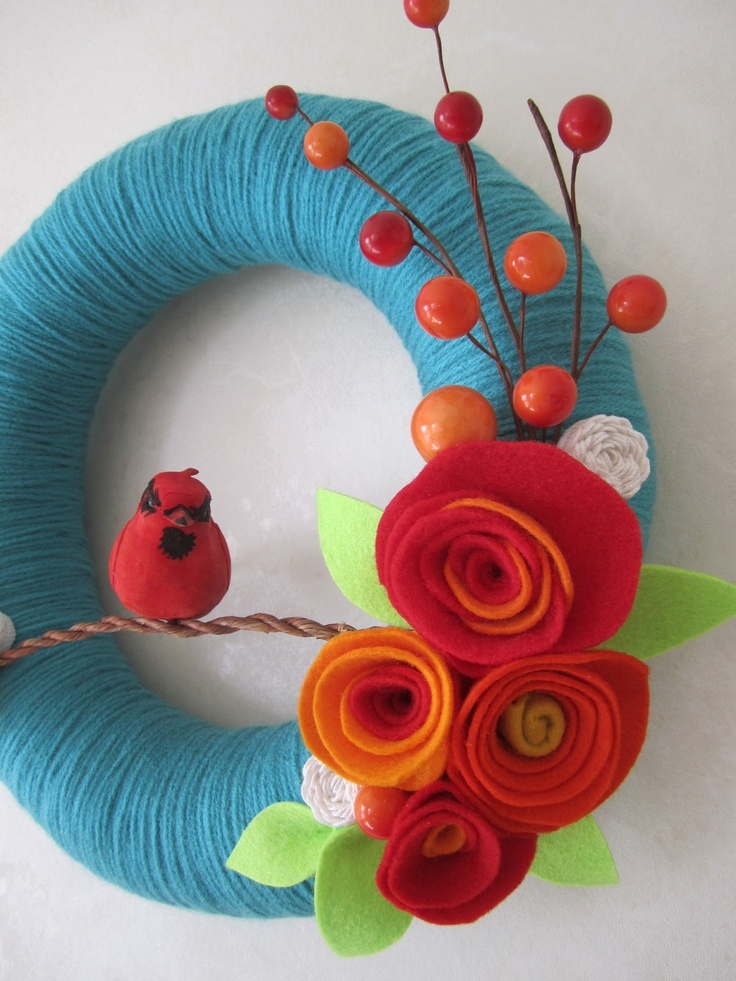 Teal Yarn Wreath with Cardinal 10 by polkadotafternoon on Etsy