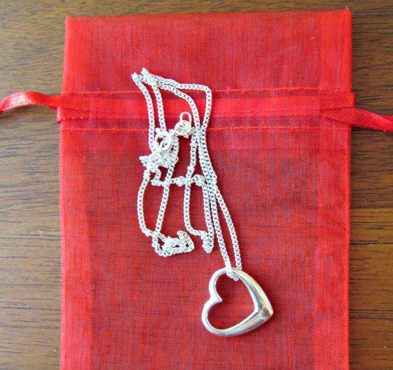 Sterling Silver Sideways Heart Necklace  by NikkiHillsDesign
