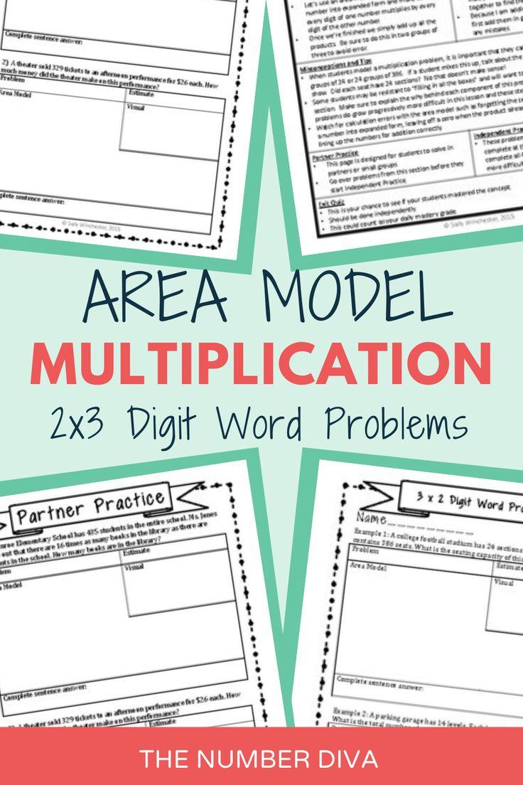 Area Model Multiplication 3 x 2 Digit Word Problems