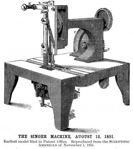 Singer Sewing Machine. Scientific American Volume 7, Issue 7. November 1851.