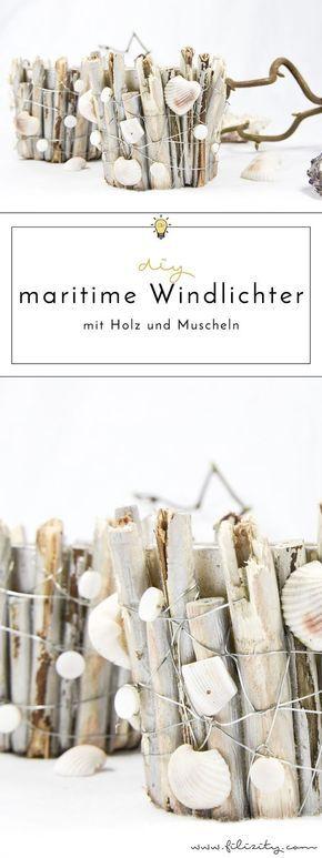 Sommer-Deko: Maritime DIY-Windlichter mit Muscheln und Holz