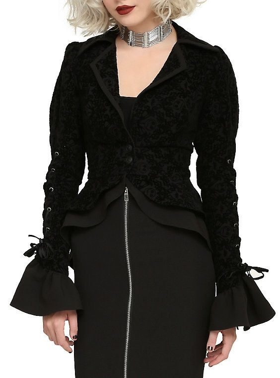 super gothy flocked jackets with lace up details.