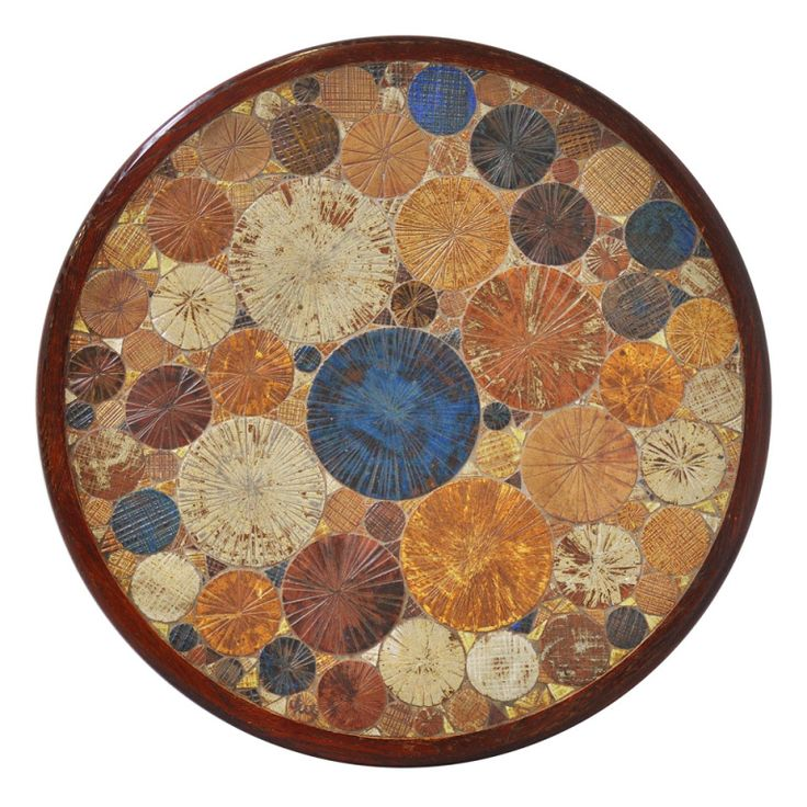 1stdibs | Tue Poulsen Ceramic Art And Wood Coffee Table Colored Tiles Denmark 1960
