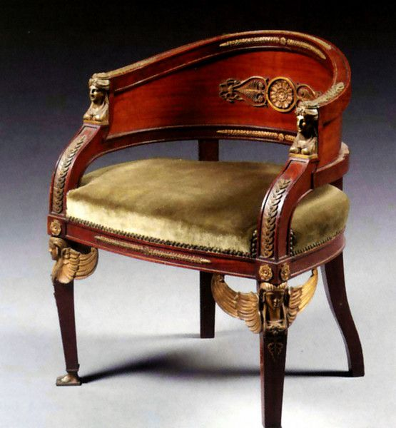 "An Empire Style Gilt-Bronze Mounted Mahogany Chair 1900 France. 31.1""H x 25.98""W x 21.65""D."