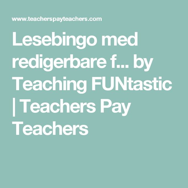 Lesebingo med redigerbare f... by Teaching FUNtastic | Teachers Pay Teachers