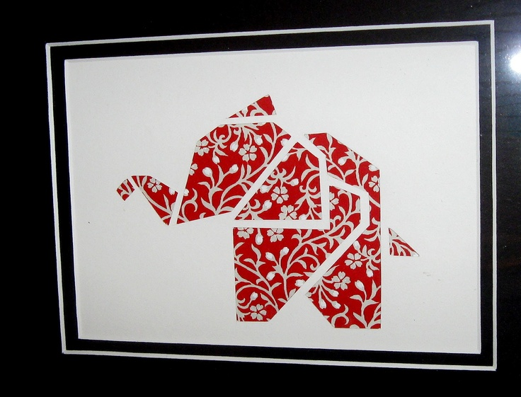 Paper cutting - origami elephant