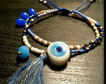 Macrame double beaded bracelet/macrame beaded bracelet/evil eye/Adjustable/Beaded bracelets with evil eye/Boho bracelets/fashion bracelets