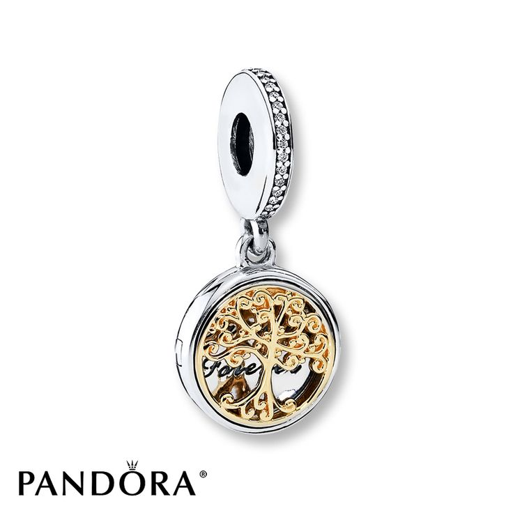 "This vintage-style sterling silver locket dangle charm from the PANDORA Fall 2016 collection features a magnificent family tree in precious 14K yellow gold and the engraving ""family forever."" With its beautiful execution and nod to heirloom styles, this charm is an exquisite tribute to families. Style # 791988CZ."
