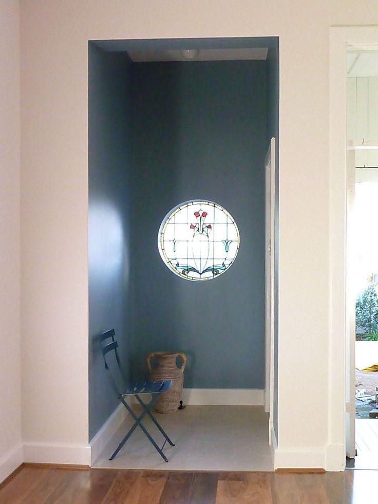 "Front Entrance is Porter's Paint Jodphur Blue, Walls are Dulux ""Natural White"""