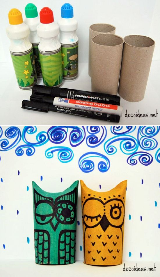 Lots of toilet paper roll crafts ~ Love these owls!