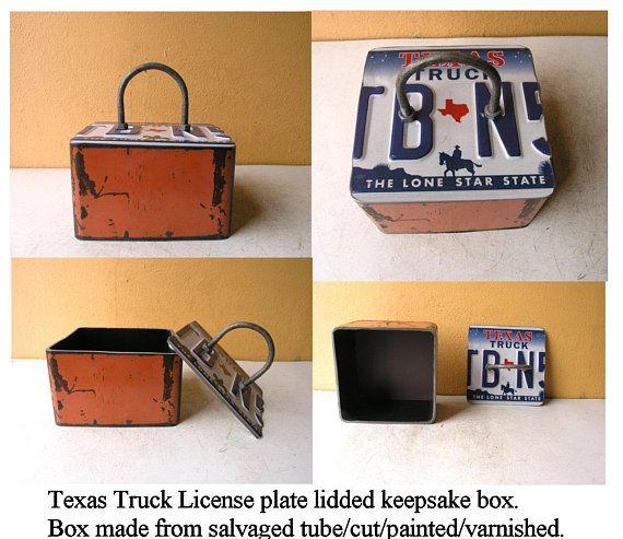 Orange Industrial Metal Lidded Box Upcycled Texas Truck License