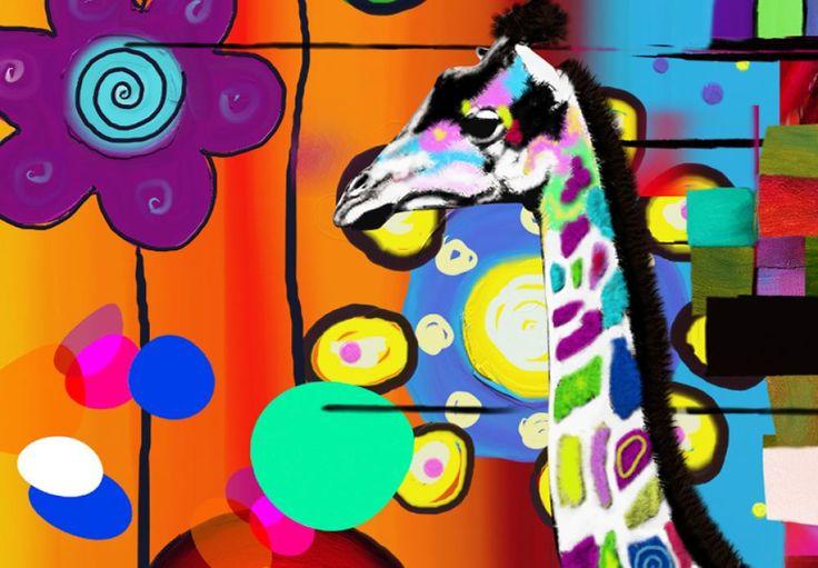 Wesołe żyrafy na kolorowym obrazie na płótnie. Idealna dekoracja, także do pokoju młodzieżowego :)