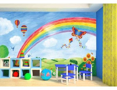 """""""Rainbow"""". A wallpaper mural from Muralunique.com. This is an original painting from Ruth Baker. https://www.muralunique.com/rainbow-12-x-8-366m-x-244m.html"""