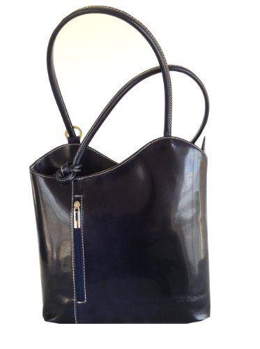 Navy Blue Italian Leather Medium Shoulder Bag, Handbag, Ruck Sack or Back Pack  Price : £59.00 http://www.kimandjo.com/Italian-Leather-Medium-Shoulder-Handbag/dp/B00B289USW