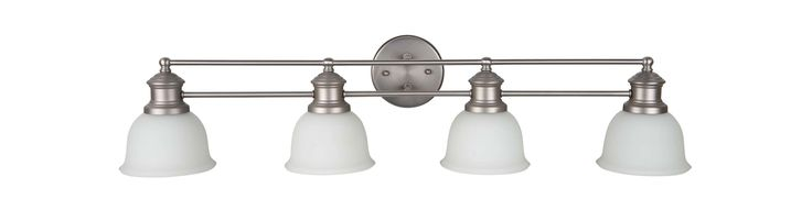 "Craftmade 198324-WG Light Rail 4 Light Bathroom Vanity Light - 35"" Wide Brushed Satin Nickel Indoor Lighting Bathroom Fixtures Vanity Light"