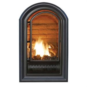 Black gas stove and Propane fireplace