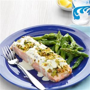 Pistachio-Crusted Salmon with Lemon Cream Sauce Recipe