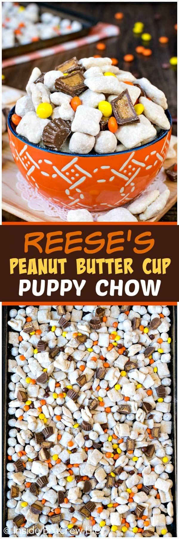 Peanut Butter Cup Puppy Chow - this easy snack mix is made with two kinds of cereal and peanut butter candies. Easy no bake recipe that is ready in minutes. Perfect for parties! ~ Inside BruCrew Life